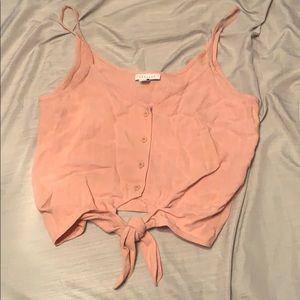 Pink tied button down crop top